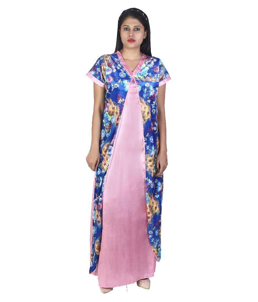 4652c24924 Buy Cattywoo Multi Color Velvet Nighty   Night Gowns Online at Best Prices  in India - Snapdeal