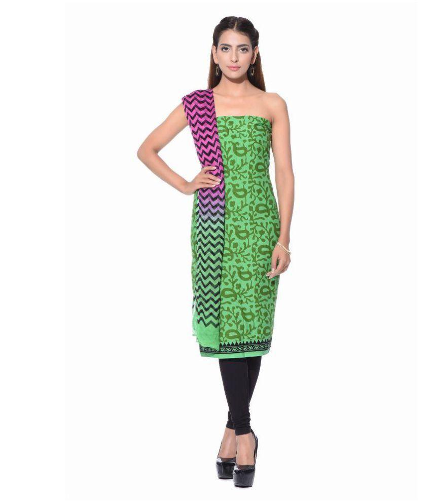 SD Fabrics Green Chiffon Dress Material