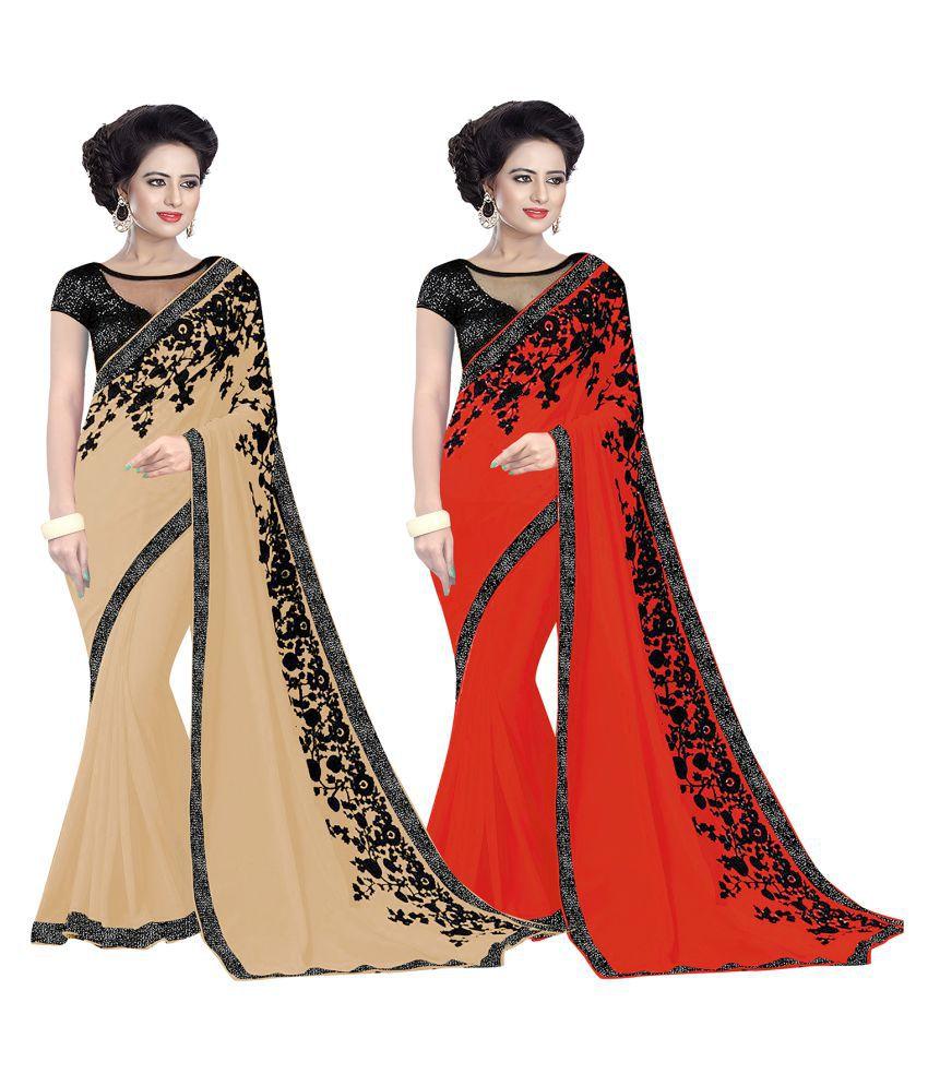 Women Icon Multicoloured Georgette Saree Combos
