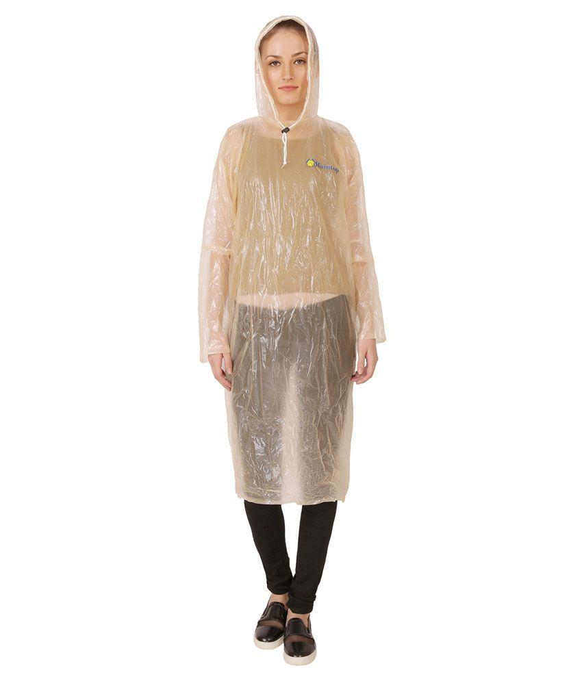 Zeel Peach Nylon Long Raincoat
