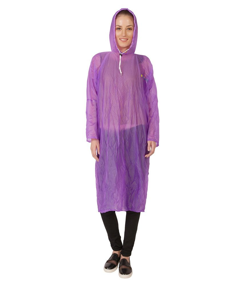 Zeel Purple Nylon Long Raincoat