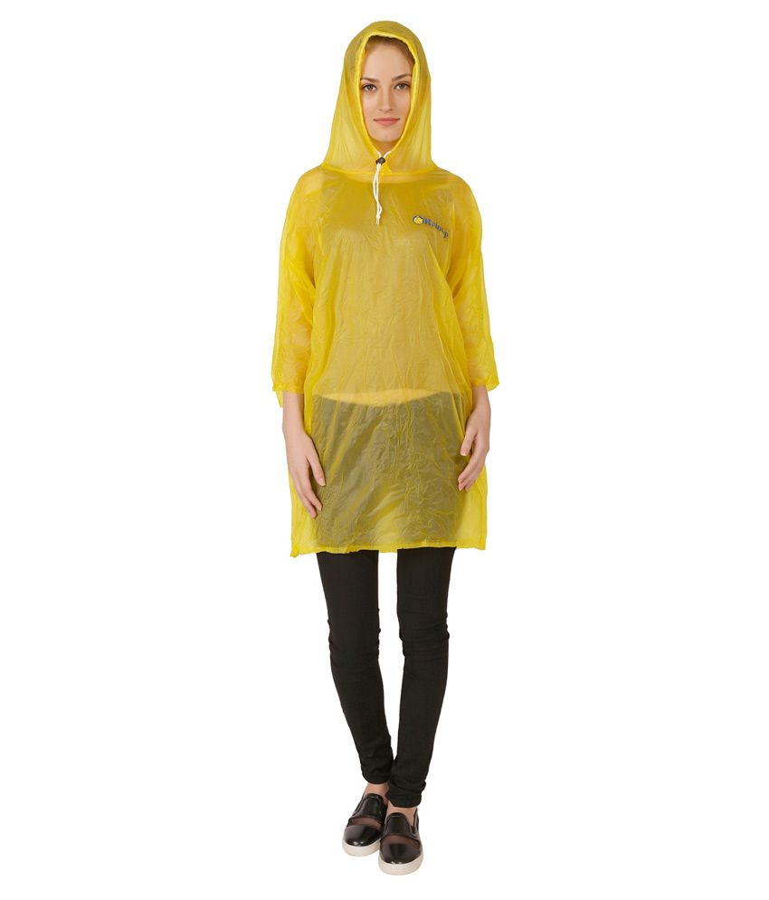Zeel Yellow Nylon Long Raincoat