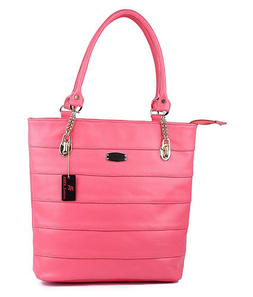 Arfa Fashions Pink P.U. Shoulder Bag
