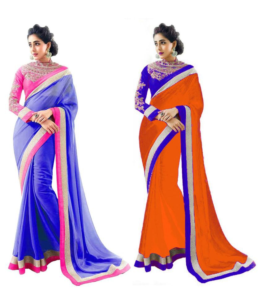 New Designer Multicoloured Chiffon Saree Combos