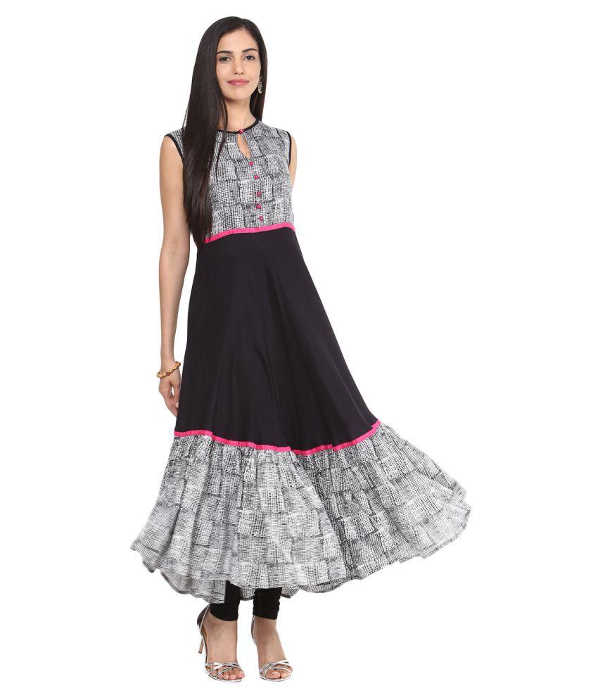 Upto 70% + Extra 15% off On Women`s Ethnic Wear By Snapdeal | Shakumbhari Black Rayon Anarkali Kurti @ Rs.724
