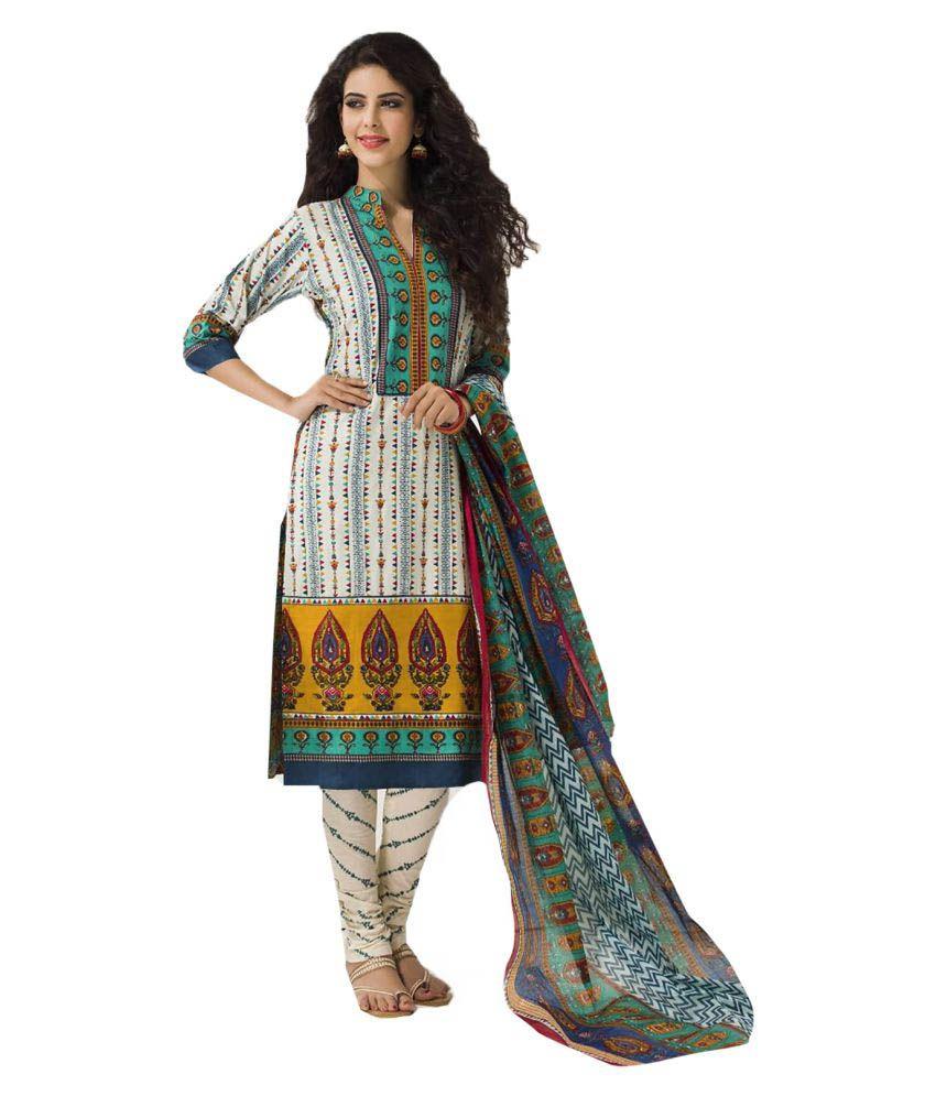Ishin Multicoloured Cotton Dress Material