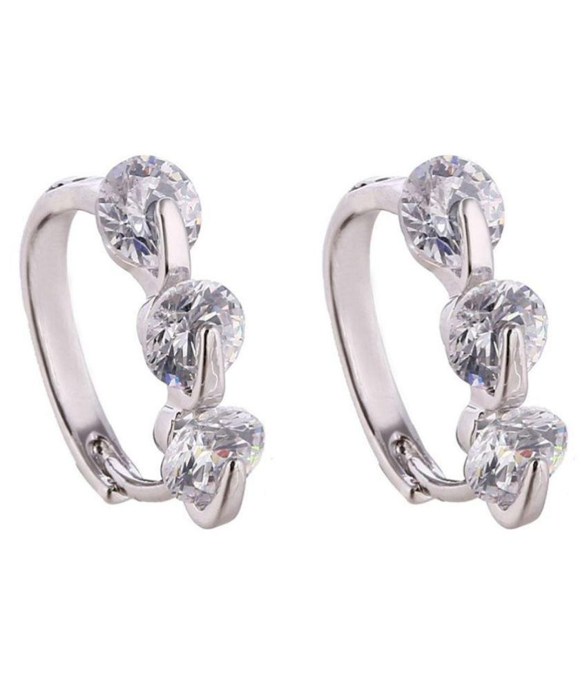 Shining Diva Fashion Silver Bails Earrings