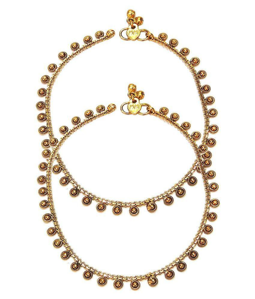 Satyam Jewellery Nx Golden Anklet - Pack of 2