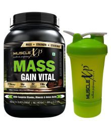 MuscleXP Mass Gain Vital With Shaker - Design 3 - 1 Kg Double Rich Chocolate