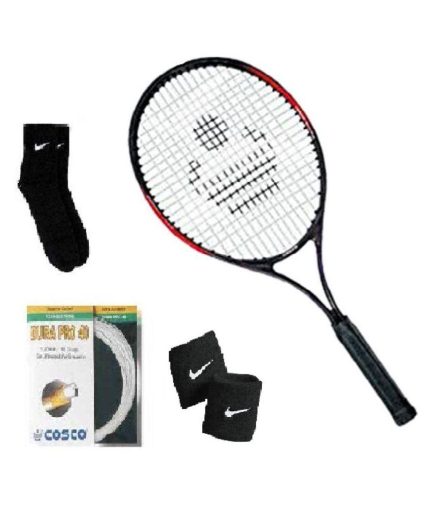 Combo of Cosco Max Power Senior Tennis Racquet with Extra String (Dura Pro) and Pair of Socks and Wristband