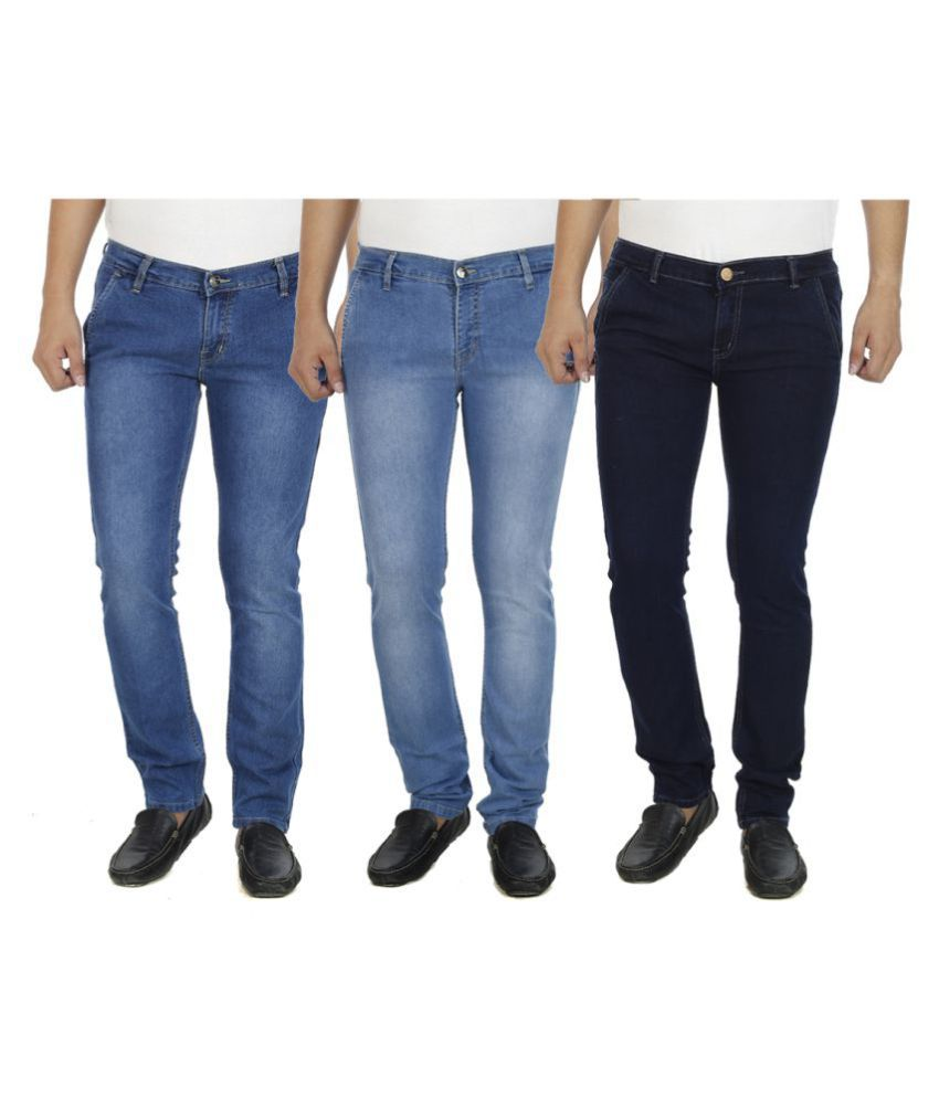 Atlast Multicolored Slim Washed Jeans - Pack of 3