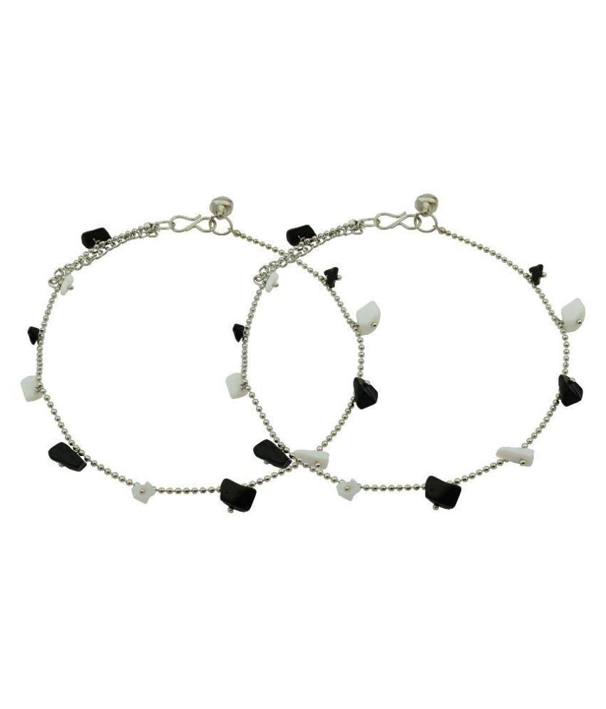 High Trendz Elegant Black And White Pebbles Anklet For Women And Girls