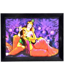Gojeeva Textured Radha Krishna Texture Effect Art Prints With UV