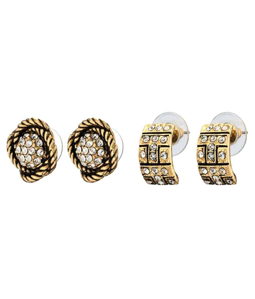 Shriya Golden Stud Earrings - Pack of 2