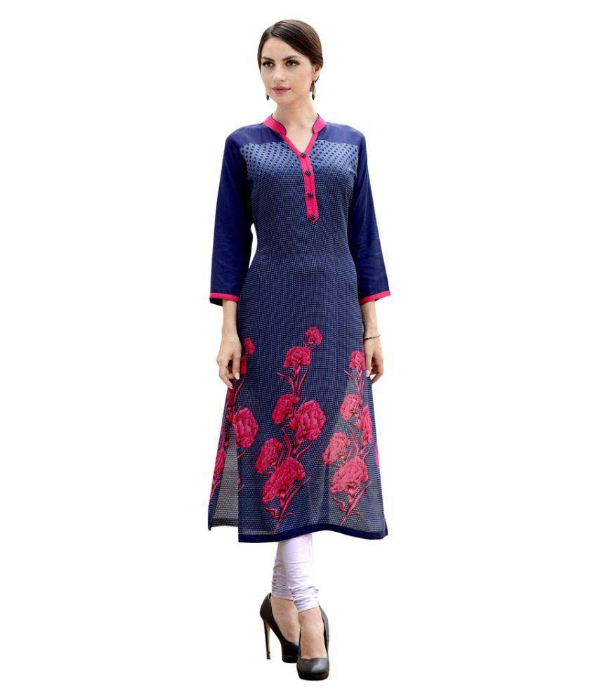 Yes Fashions Blue Cotton Straight Kurti