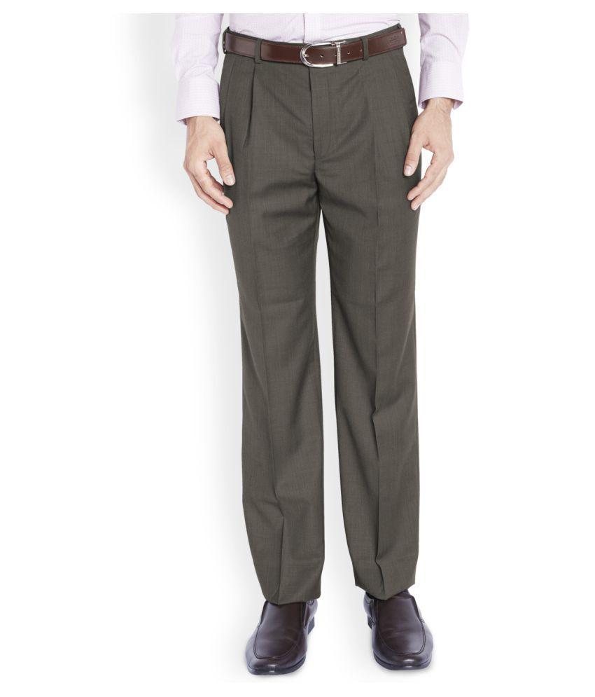 Raymond Dark Brown Regular Pleated Trouser