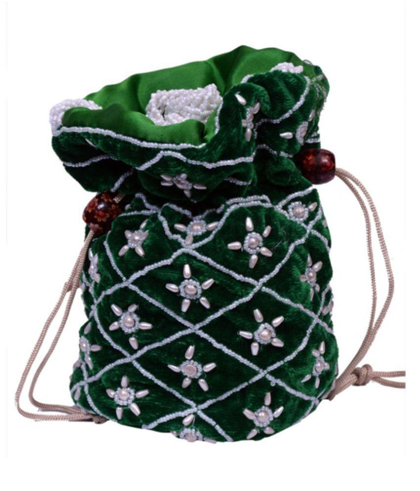 Craft Trade Green Silk Potli