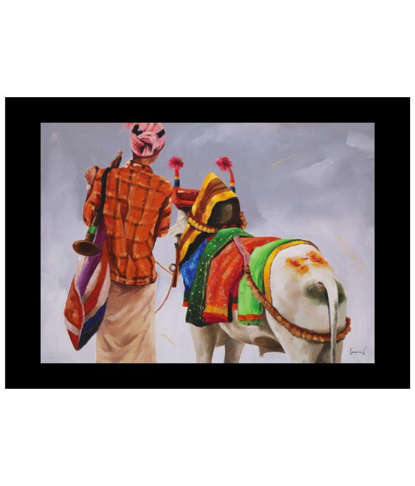 Infinite Arts Auspicious Cow Canvas Animal Paintings Without Frame Single Piece
