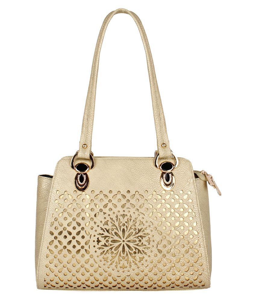 Fashmode Cream Faux Leather Shoulder Bag