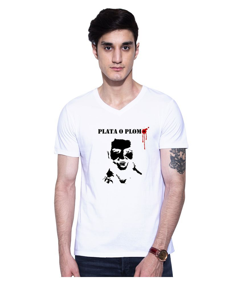 Uptown 18 White V-Neck T-Shirt