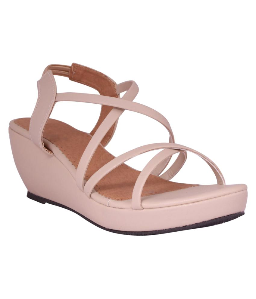 Foot Love Beige Wedges Heels