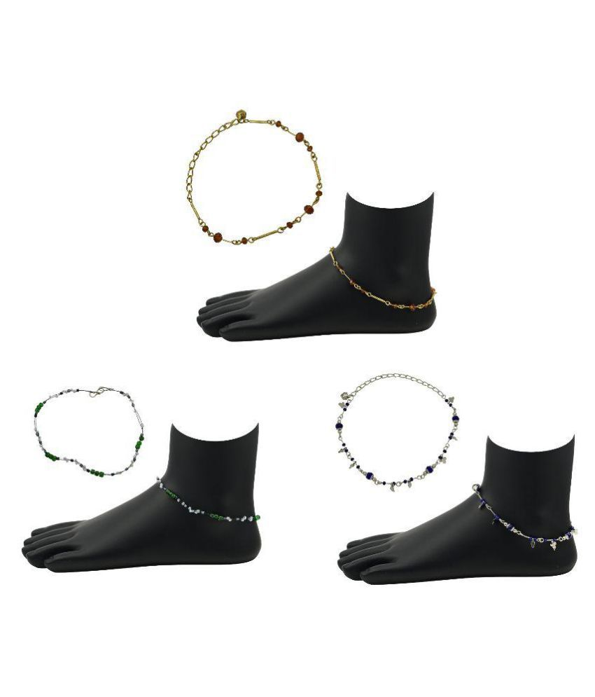 High TrendzMulticolour Anklet - Pack of 3