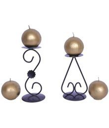 Indigo Creatives Golden Christmas Decorative Ball Candle With Stands - Pack Of 6