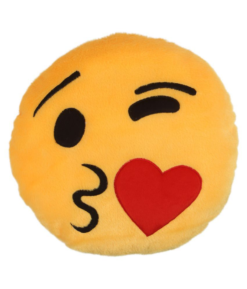 Deals India Yellow Smiley Cushion