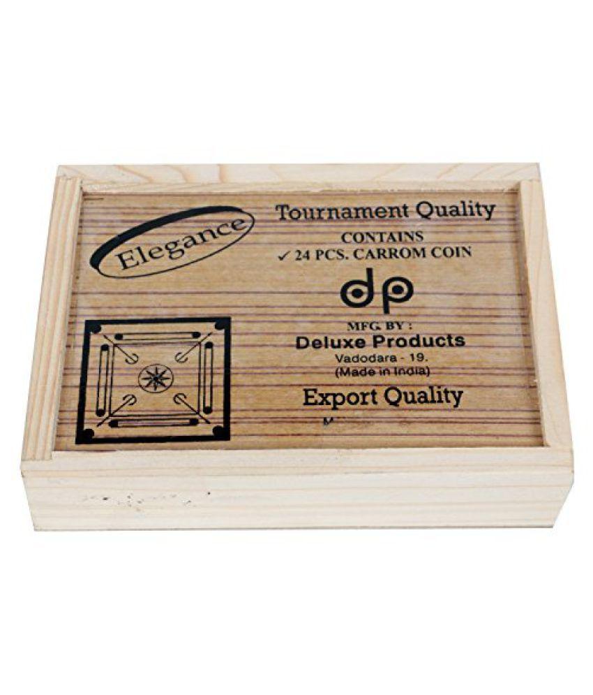 Yuva Carrom Board Superior Carrom-Men Tournament Carrom Coins with Box (Elegance)