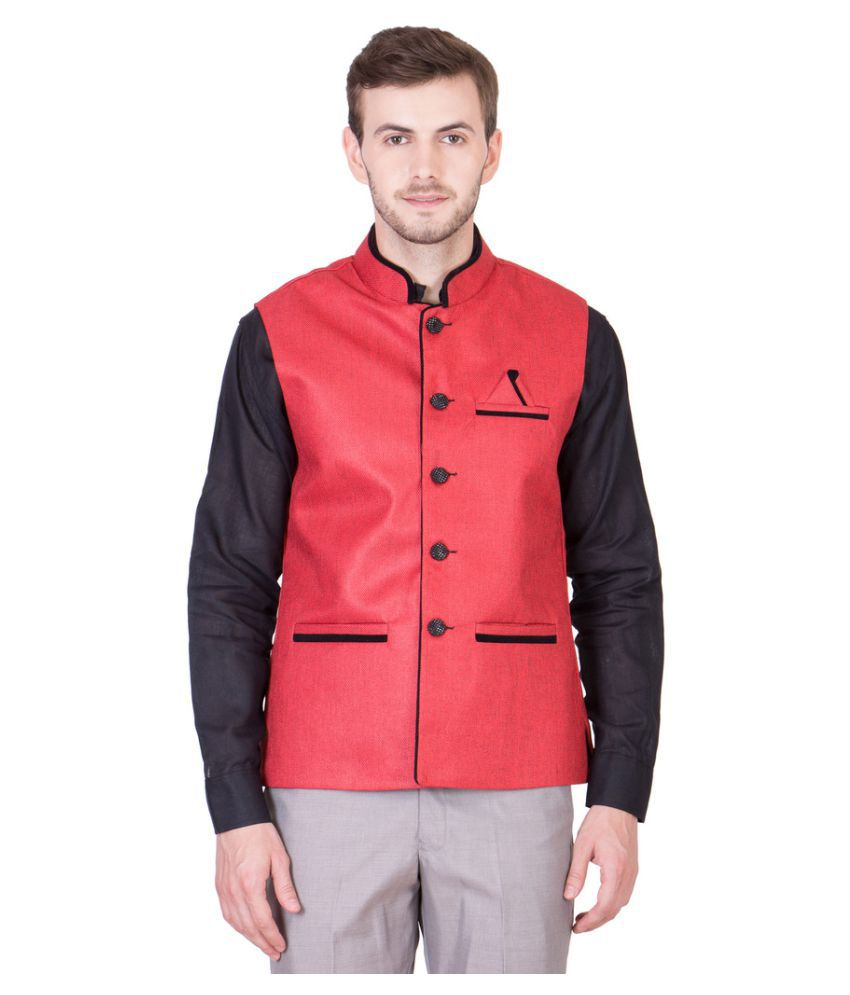 Fairdeals Red Solid Casual Waistcoats