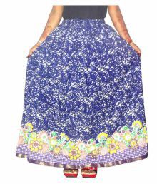 Jaipur Skirt Blue Cotton A-Line Skirt