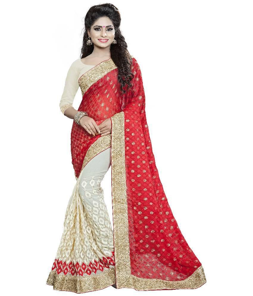 Aashvi Creation Red and Beige Georgette Saree