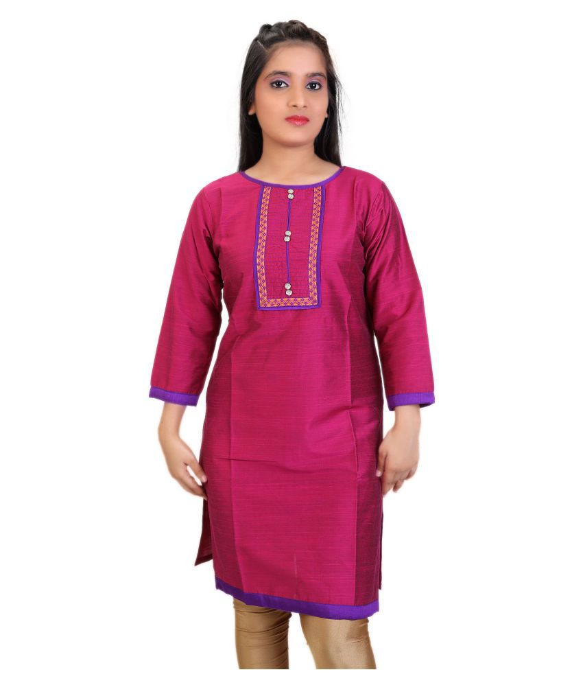 Carrel Pink Cotton Silk Straight Kurti