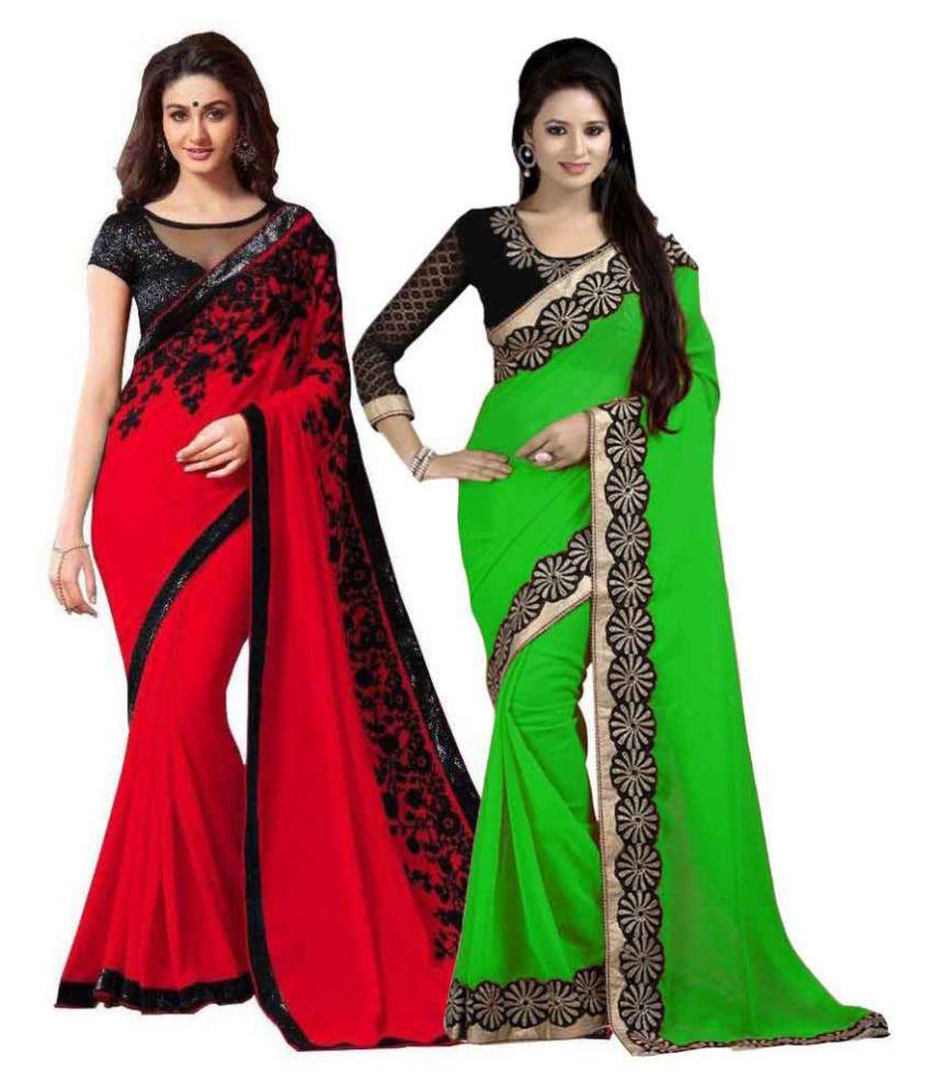 New Designer Multicoloured Chiffon Saree Combos