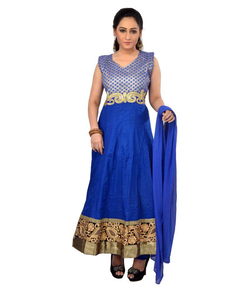MantaKart Blue Cotton Anarkali Stitched Suit