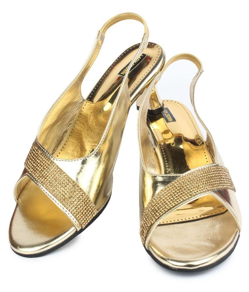 Lady Crown Gold Block Heels