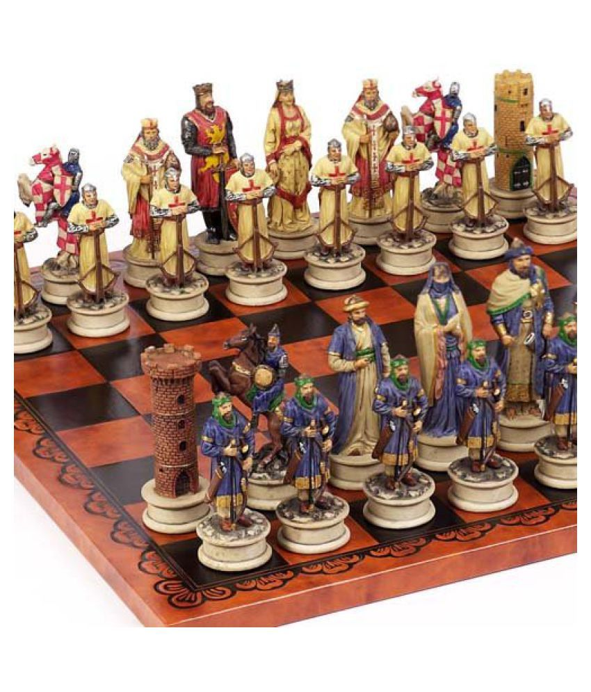 Crusade Chessmen & Georgio Chess Board From Italy Large, King: 4 1/2 Inch