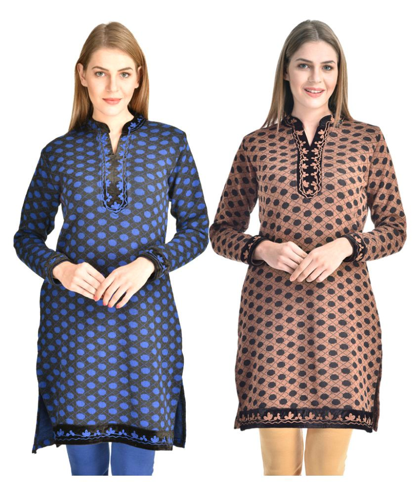 Christy World Multicoloured Woollen Straight Kurti