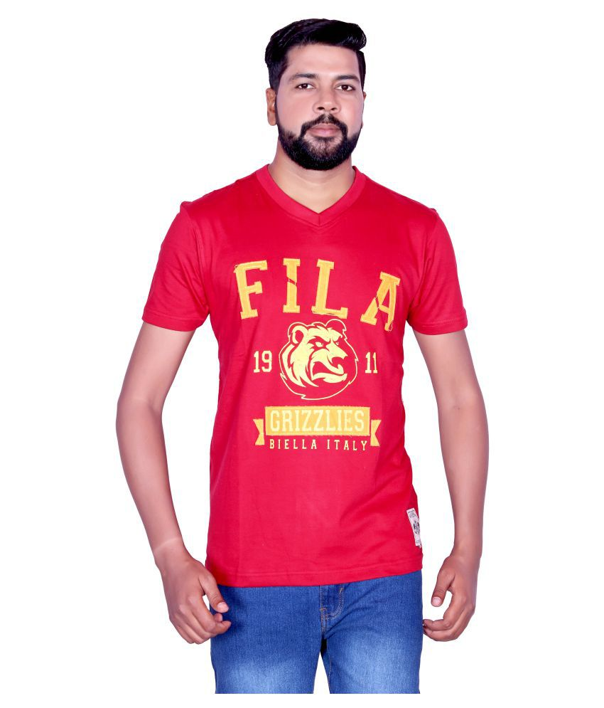Fila Red V-Neck T-Shirt