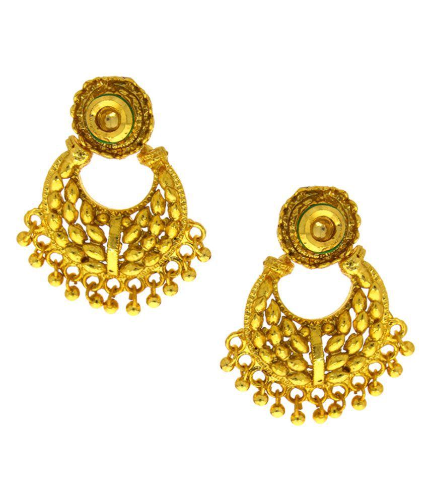 Anuradha Art Golden Hanging Earrings