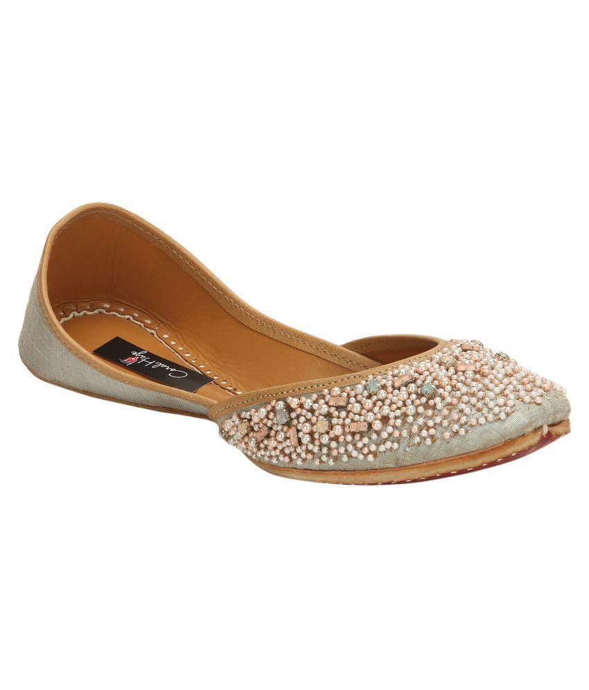 Coral Haze Gray Flat Ethnic Footwear