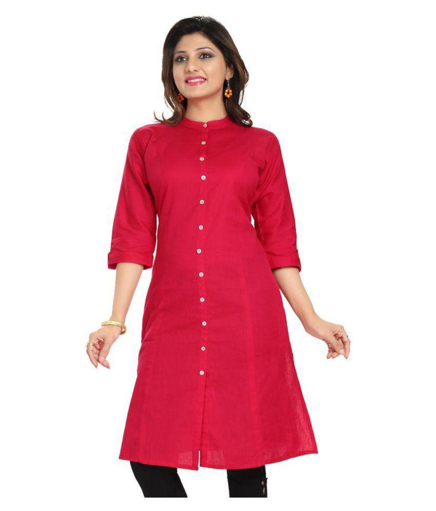 Meher Impex Pink Cotton Shirt style Kurti