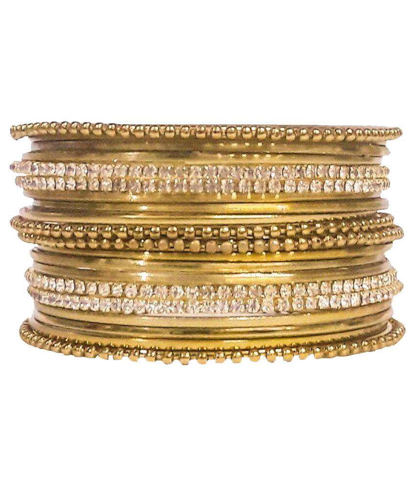 Artificial Jewellery Golden Brass Bangle Set