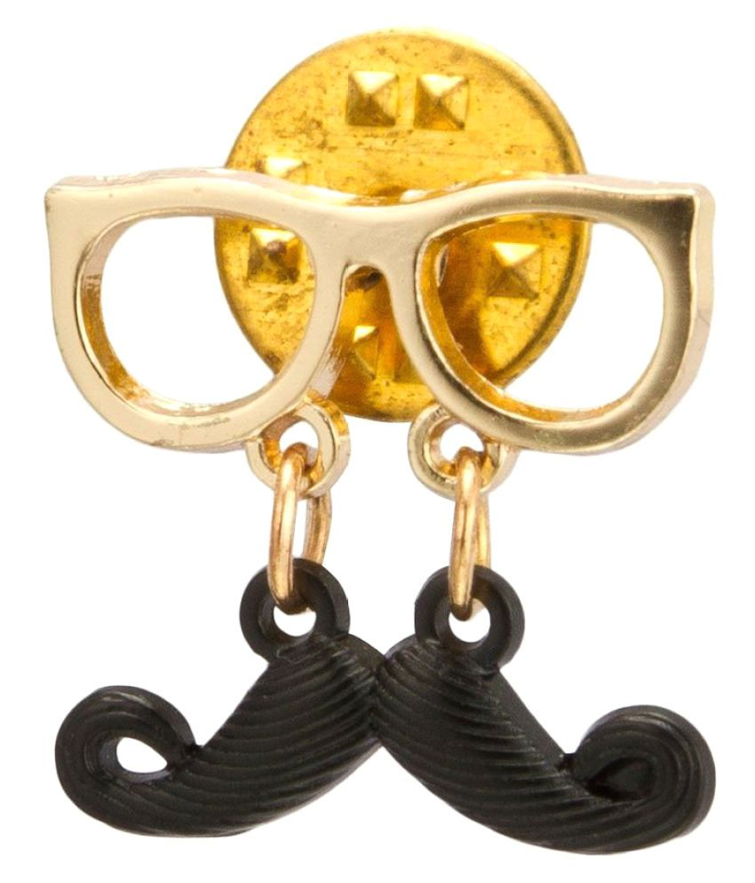 Kidofash Black Moustache with Golden Spectacles Lapel Pin Brooch Badge