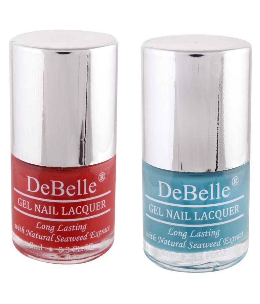 DeBelle Nail Polish Red & Turquoise Blue 8 ml Pack of 2