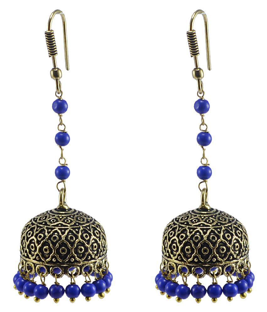 Silvesto India Blue Jhumki Earrings