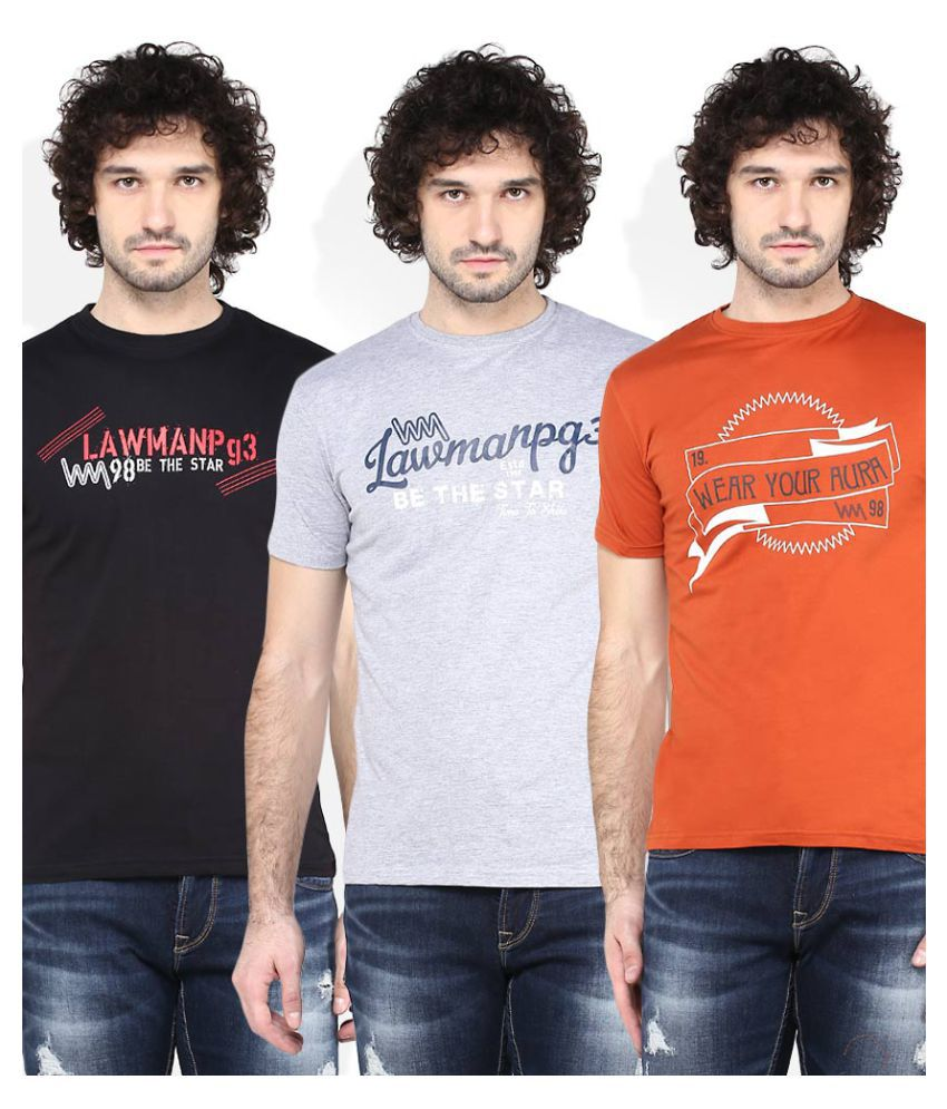 Lawman Pg3 Grey Round T-Shirt Pack of 3