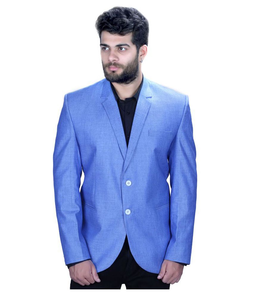 Mark Estilo Blue Plain Party Blazers