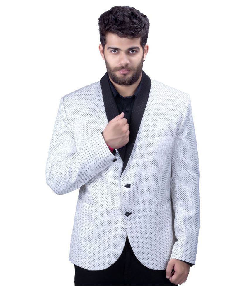 Mark Estilo White Printed Party Blazers