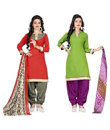 Sahari Designs Multicoloured Cotton Dress Material - Pack Of 2